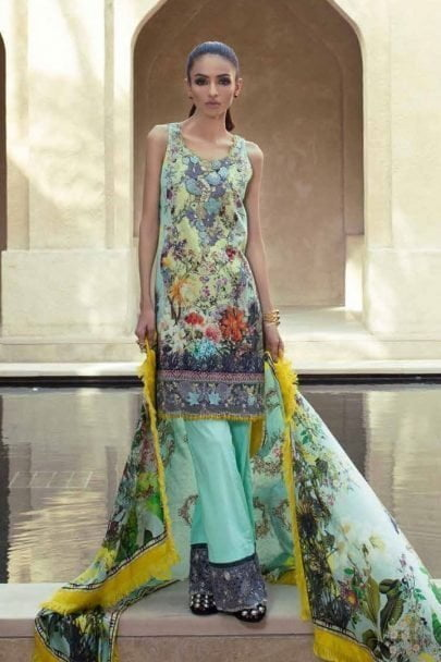 Teena Durrani Fomals Embroidered Silk 2017 PALMYRA MINT 02A