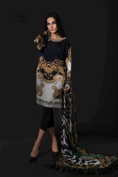 Maria B Unstitched Silk MSK-01-Black