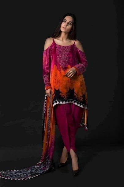 Maria B Unstitched Silk MSK-07-Pink & Orange