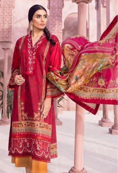Tena Durrani Luxury Lawn 2018 HERA RED 13A