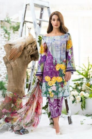 Asifa & Nabeel Luxury Lawn Collection Vol 2 2018 Washes of Lavender 02A