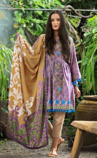 Lakhany Embroidered Cotton Satin Unstitched 3 Piece Suit 02B