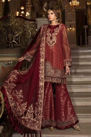 MARIA B MBROIDERED WEDDING EDITION VOL 1 2018 Deep Ruby BD-1503
