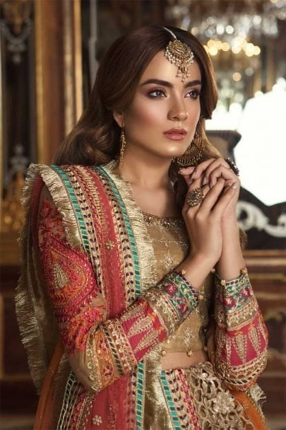 MARIA B MBROIDERED WEDDING EDITION VOL 1 2018 Gold & Coral BD-1505
