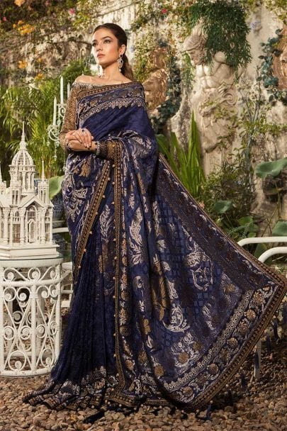 MARIA B Unstitched MBROIDERED – Deep Sapphire and Burnt Gold (BD-1601)