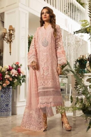 MARIA B Unstitched MBROIDERED - Peachy Pink (BD-1602)