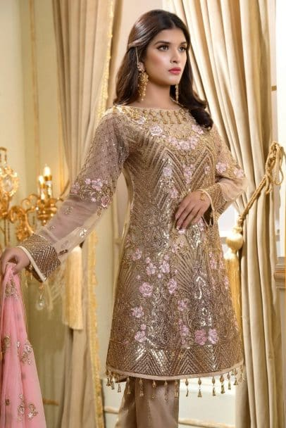 MARYUM N MARIA SHAMROCK LUXURY CHIFFON COLLECTION 2019 Golden Touch (MMS-708)