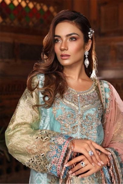 MARIA B Unstitched MBROIDERED – Powder Blue & Coral (BD-1705)