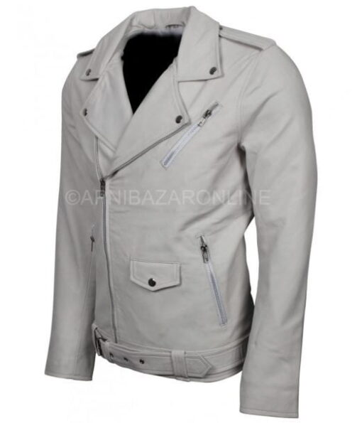 Luxury Wear Mens White Boda Style Biker Leather Jacket DMLJ-02