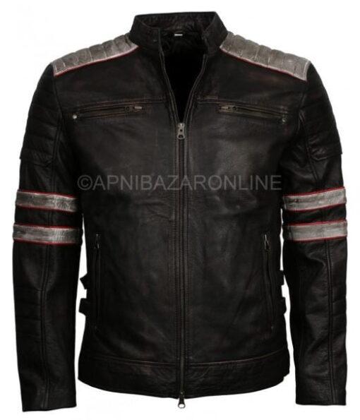 New Retro Mens Vintage Distressed Black Biker Leather Jacket DMLJ-04