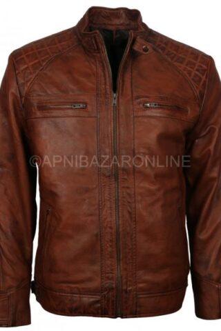 Men's Vintage Retro Biker Brown Waxed Motorcycle Real Leather Jacket DMLJ-05