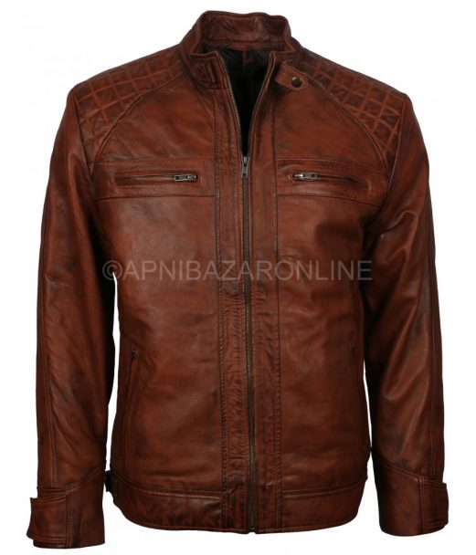 Men's Vintage Retro Biker Brown Waxed Motorcycle Real Leather Jacket DMLJ-05