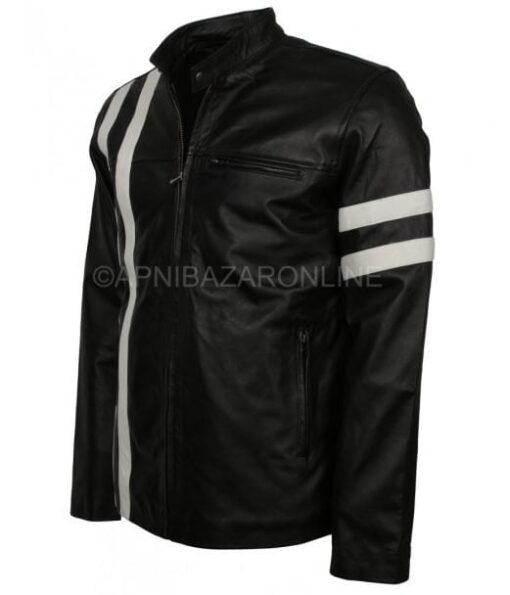 Black Retro with White Stripes Genuine Leather Biker Jacket DMLJ-06