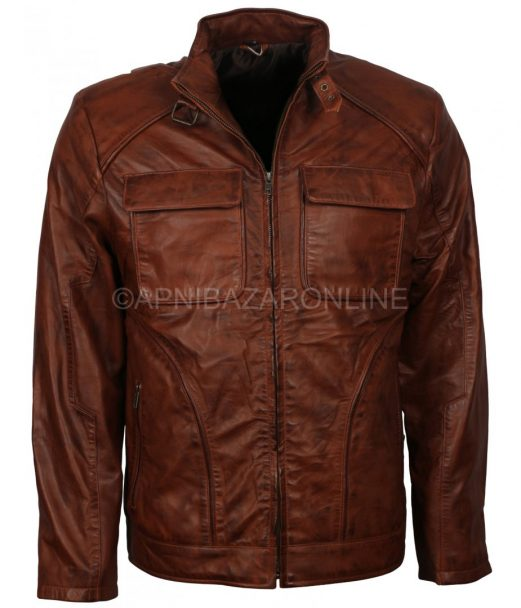 Tan Waxed Flap Pockets Vintage Classical Mens Real Leather Jacket DMLJ-07