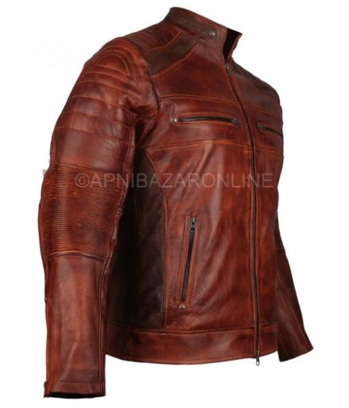 Mens Biker Style Cafe Racer Soft Nappa Genuine Leather Jacket in Brown Color DMLJ-08
