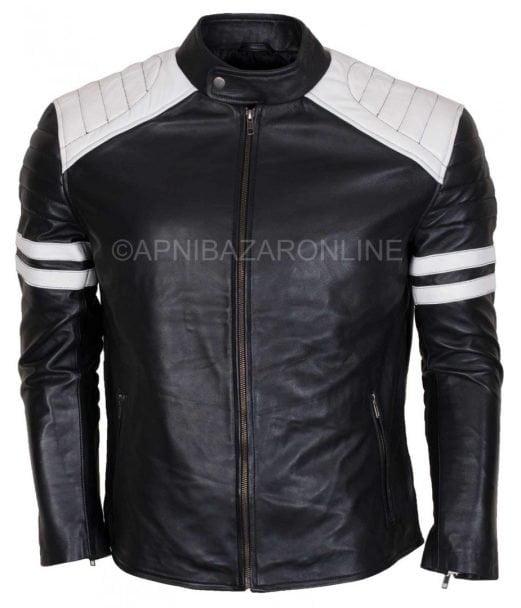 Mens Racer Retro Hybrid Cafe Genuine Leather Jacket DMLJ-12