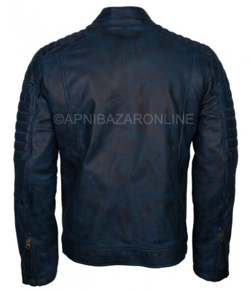 Mens Soft Nappa Leather Biker Style Fashionable Genuine Leather Jacket in Blue Color DMLJ-13