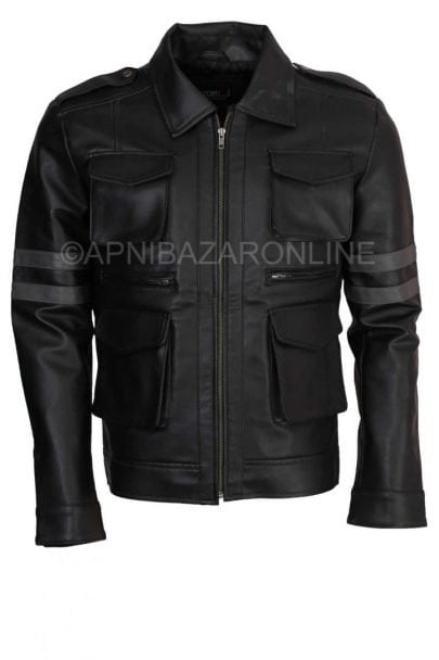 Mens Resident RE6 Cosplay Black Faux Leather Jacket DMLJ-16