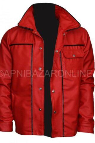 Mens Red Jacket - King Of Rock Elvis Presley Inspired Wear Genuine Leather DMLJ-17