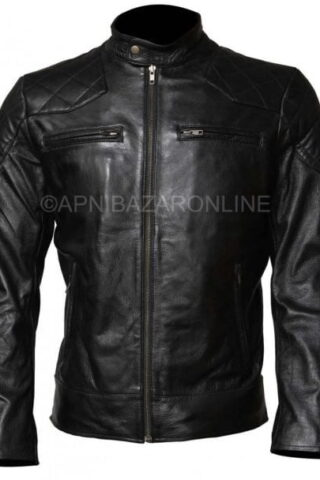 Mens Real Cowhide Black Leather Quilted Shoulder Retro Motorcycle Jacket DMLJ-19