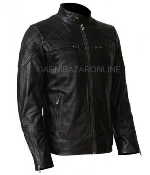 Mens Real Cowhide Black Leather Quilted Shoulder Retro Motorcycle Jacket DMLJ-19