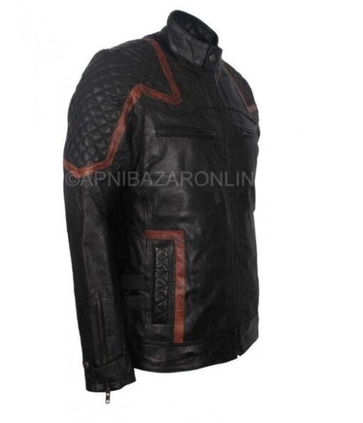 Mens Cafe Racer Real Black Vintage Waxed Leather Jacket DMLJ-21