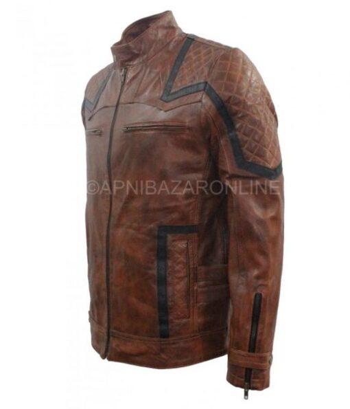 Mens Fashion Cafe Racer Motorbiker Brown Vintage Waxed Leather Jacket DMLJ-22