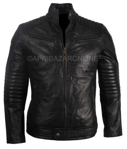 New Mens Vintage 80s Italian Style Real Black Waxed Leather Jacket DMLJ-24