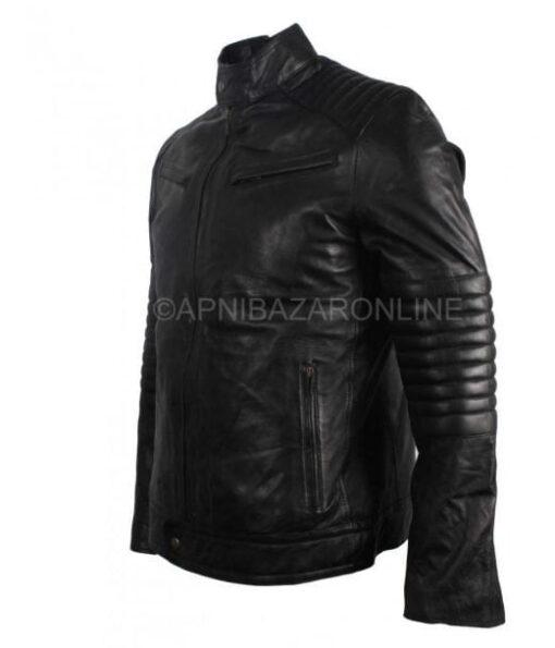 New Mens Vintage 80s Italian Style Real Black Waxed Leather Jacket DMLJ-24