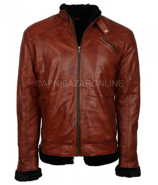 Mens Fur Lined Winter Brown Vintage Waxed Leather Jacket DMLJ-25