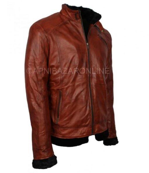 Mens Fur Lined Winter Brown Vintage Waxed Leather Jacket DMLJ-25