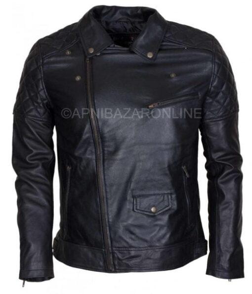 Mens Designer Brando Style Black Vintage Waxed Genuine Leather Jacket DMLJ-27