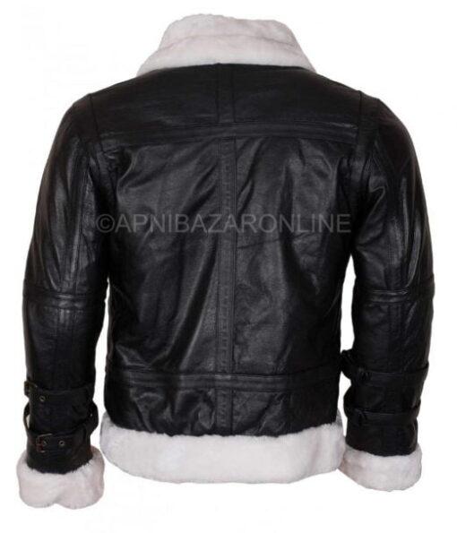 Mens B3 Faux Shearling Black Genuine Leather Jacket DMLJ-28
