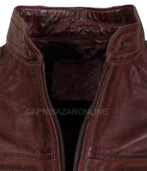 Mens Dark Brown Waxed Genuine Leather Cafe Racer Jacket DMLJ-29