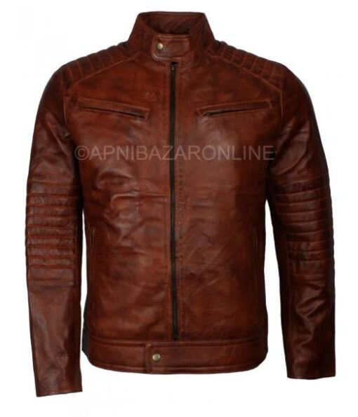 New Mens Vintage 80s Italian Style Real Brown Waxed Leather Jacket DMLJ-30