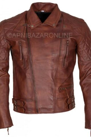 Mens Brown Waxed Diamond Quilted Designer Genuine Leather Jacket DMLJ-31