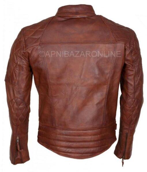 Mens Brown Waxed Diamond Quilted Designer Genuine Leather Jacket DMLJ-31