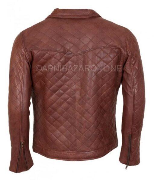 Mens Quilted Brown Real Leather Designer Jacket DMLJ-33