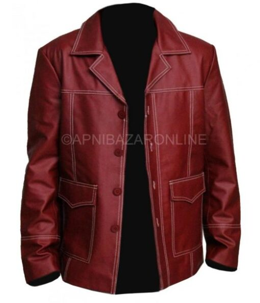 New Mens Classical Maroon Real Leather Coat Style Jacket DMLJ-34