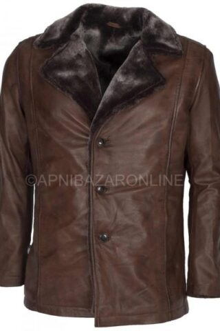 Mens Dark Brown Waxed Faux Shearling Leather Coat DMLJ-35