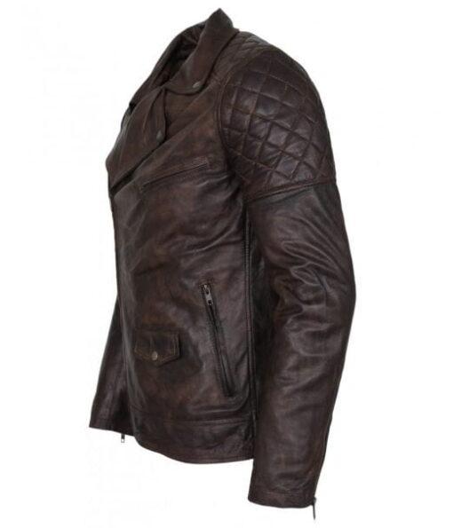 Mens Designer Brando Style Dark Brown Vintage Waxed Genuine Leather Jacket DMLJ-37