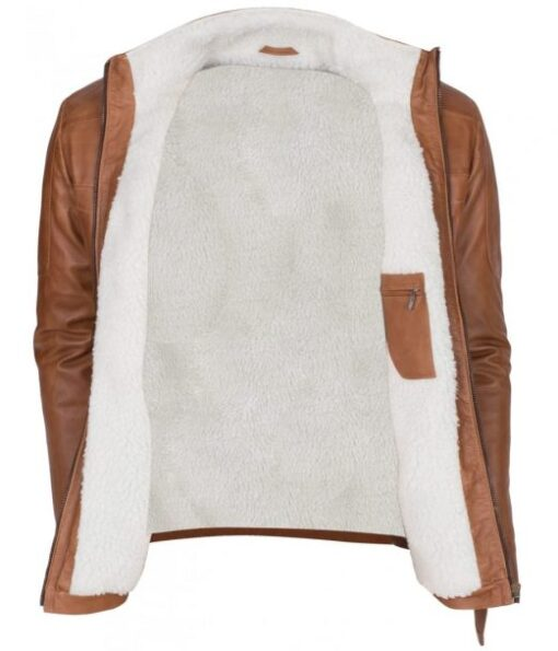 Mens New Tan Waxed Faux Fur Genuine Leather Winter Designer Jacket DMLJ-41