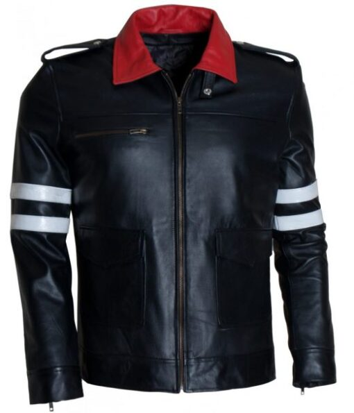 Mens New Dragon Embroidered Gaming Faux Leather Jacket DMLJ-42