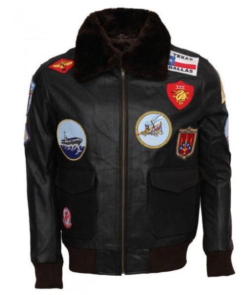 Mens Vintage Style Bomber Fur Collar Black Leather Jacket DMLJ-43
