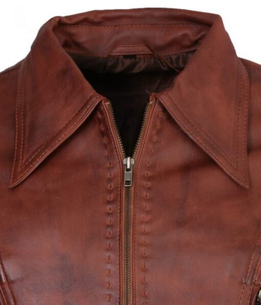 Mens Classic Brown Waxed Genuine Leather Jacket DMLJ-45