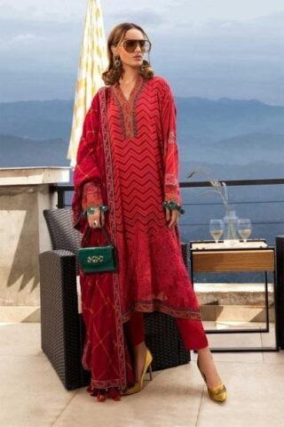 MARIA B LUXURY LINEN COLLECTION 2019 DL-701-Fuchsia Pink 01.01