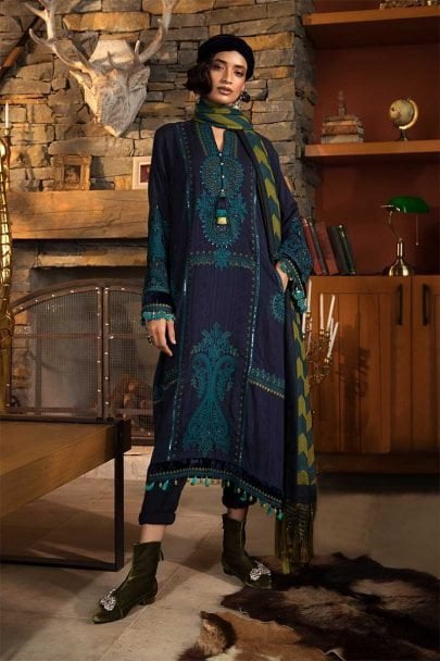 MARIA B LUXURY LINEN COLLECTION 2019 DL-703-Navy Blue 03.01