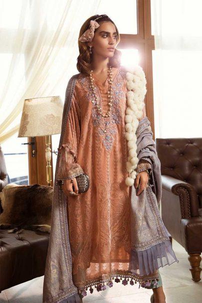 MARIA B LUXURY LINEN COLLECTION 2019 DL-705-Peach 05.02