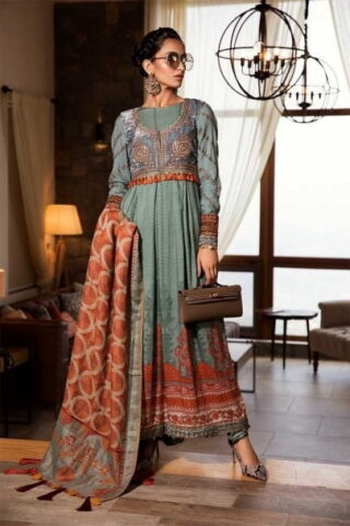 MARIA B LUXURY LINEN COLLECTION 2019 DL-708-Dull Teal 08.01