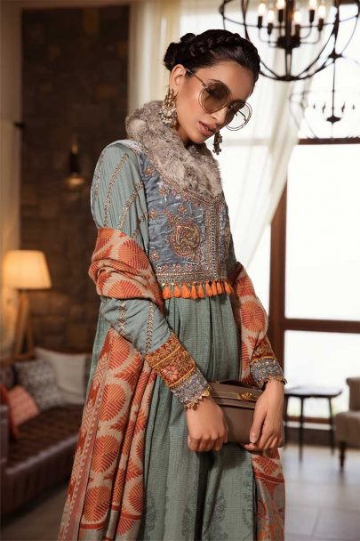 MARIA B LUXURY LINEN COLLECTION 2019 DL-708-Dull Teal 08.02